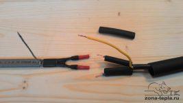 Соединение греющего и питательного кабеля